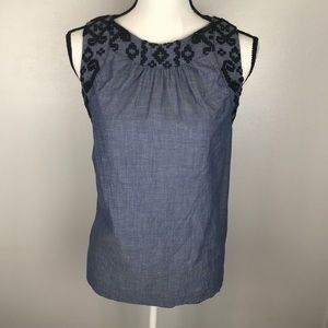 Old Navy Chambray Blue Embroidered Blouse